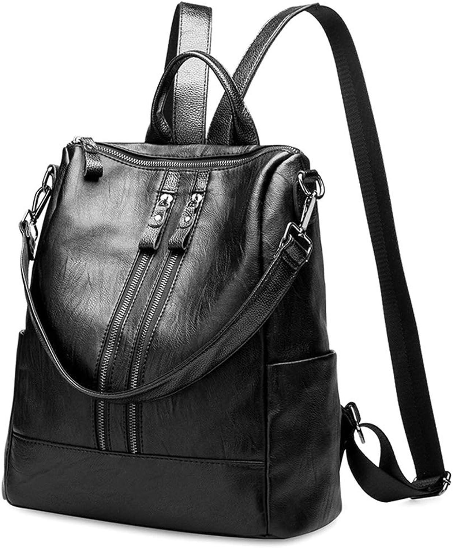 GUOFENG Rucksack Handtaschen echtes Schaffell Damen Fashion Rucksack Mumientasche Schultertasche Student Shopping Diagonal Crosspack Groe Kapazitt Reise Rucksack – Schwarz