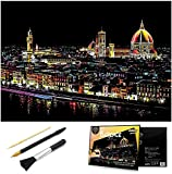Scratch & Sketch Art Paper for Adults & Kids, Scratch Paper Rainbow Painting Sketch Pads DIY Art Craft Night View Scratchboard with Clean Brush,Scratch Coloring Pen,16 X 11.2 Inches (Florence)