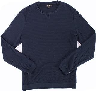 Tasso Elba Mens Tee Shirt Navy Two-Fer Split Neck Pullover