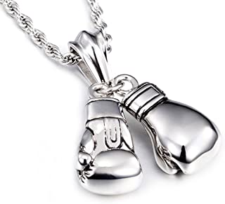 Mens Vintage 316L Stainless Steel Boxing Gloves Pendant Necklace with 24 Inch Twist Rope Chain