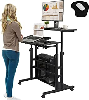 Rolling Laptop Table Mobile Standing Desk Sit-stand Computer Cart Workstation Height Adjustable for Home Office Classroom ...
