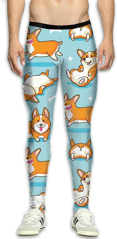 Techdecorhomee Mens Compression Leggings Yoga Pants Dog Corgi Pattern Running Tights High Waist Sports Trousers White