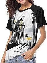 Womens Short Sleeve T-Shirt,Coastal,Dreamy Clear Sea and Beach,Baseball Print Casual O-Neck Tops