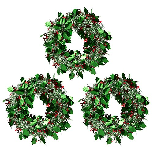 Juvale 3-Pack Christmas Wreath - Sparkling Tinsel Door Hanger - Perfect Xmas and Winter - Green and Silver, 11.8 x 11.8 Inches