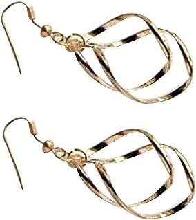 Niome 1Pair Women Silver Plated Diamond Shape Dangle Twisted Earrings Hoop Ear Stud Piercing Jewelry