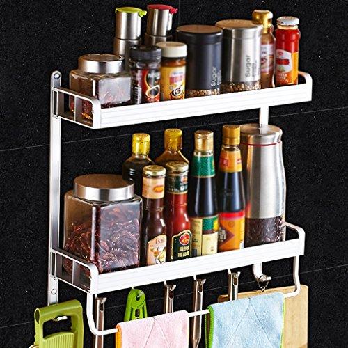 Paniers à couverts BOBE Shop- Étagère de Cuisine Murale Double Couche Rangement d'ustensiles de Cuisine Étagère à épices, Espace Aluminium, avec Crochets et Porte-Serviettes (Taille : 50 cm)