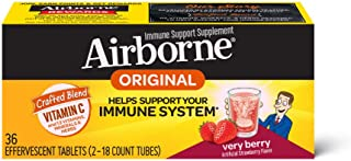 Vitamin C 1000mg - Airborne Very Berry Effervescent Tablets (36 count in a box), Gluten-Free Immune Support Supplement and High in Antioxidants, Packaging May Vary