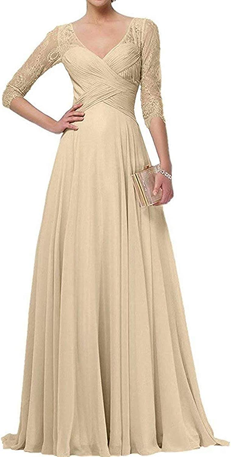 Zaozc Lace Half Sleeve Mother of The Bride Dresses V-Neck Chiffon Long Cocktail Party Gowns for Women