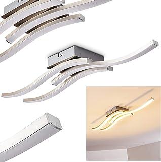 Lámpara de techo alargada Letala de metal níquel mate/cromo, 2 LED x 5 vatios, 1000 lúmenes, 3000 kelvin, ideal para pasillo, salón, dormitorio