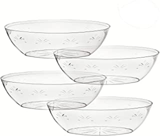 Oval Crystal Clear Plastic Serving Bowls, Salad, Snack, Disposable Bowls -64 Ounce – Perfect For Your Party or Event – and Durable Hard Plastic, Pack of 4.