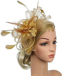 a01a1d66 ACTLATI Flower Feather Fascinator Hat Headband Derby Wedding Tea Party  Headwear