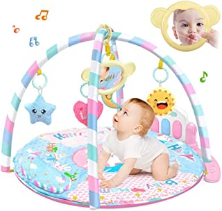 Baby Kick and Play Mat, Hamkaw Baby Play and Sit Mat Newborn Activity Center Lay & Play Piano Gym w/Music and Light for Gi...