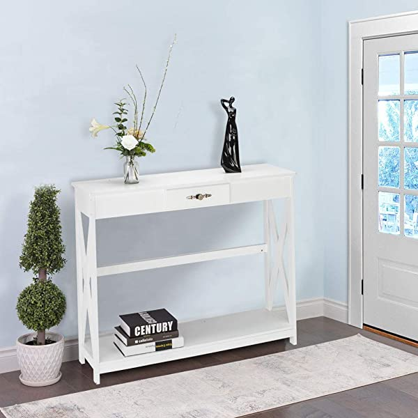 Bonnlo White Entryway Table Sofa Table With Drawer And Shelf Slim Console Table With Storage For Hallway Living Room Foyer