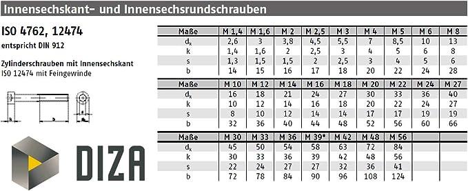 Zylinderschrauben M4x6 DIN 912 10 St/ück Festigkeit 12.9 mit Innensechskant schwarz