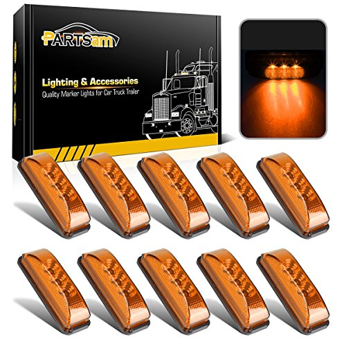 Partsam 10pcs 3.9 inch Amber 3LED Side Marker Light Universal 12V 2 Wires Sealed Assembly, Thin line Faceted LED Trailer Truck Clearance or Side Marker Lights w Mini Reflectors