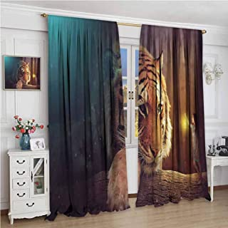 GUUVOR Jungle Room Darkened Heat Insulation Curtain Young Woman with Lamp Facing Giant Tiger on Big Tree Branch Fantastic Magical Living Room W84 x L108 Inch Orange Blue Brown