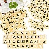 Pinowu Lettres en Bois de Puzzle Alphabets A à Z, 200 Bois Artisanat avec Sac de Rangement en Coton pour travaux manuels, pendentifs, orthographe