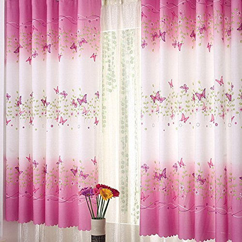 Cortinas de ventana con diseño de flores de mariposa, cortinas opacas para habitación de niñas, para dormitorio, sala de estar, habitación de niños, cortina de ducha para dormitorio