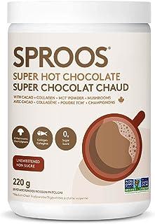 SPROOS Super Hot Chocolate | Organic Raw Cacao Powder, Premium Wild-Caught Marine Collagen, MCT Powder & A Blend of Four M...