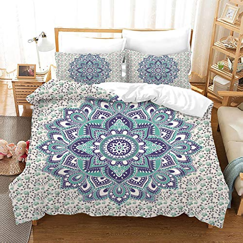 QXbecky 3D Bohemian Ethnic Style Bedding Soft Microfiber Quilt Cover Pillowcase 3-Piece Set Hidden Zipper Double Bed