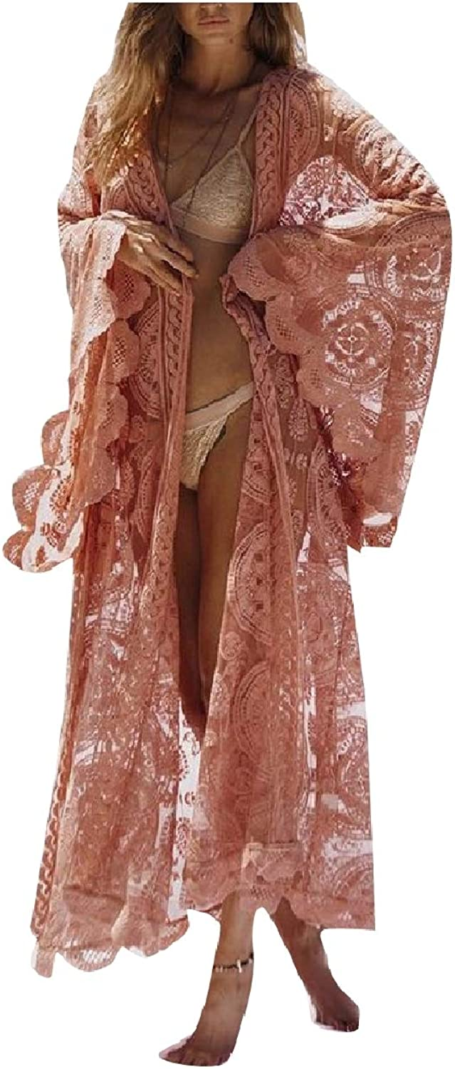 Tootca Women's Ankle Length Premium Hollow Out Lace Kimono Cardigan