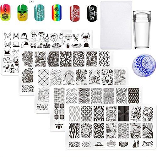 5Pcs Nail Art Plate Nail Stamp Stamping Template Image Plates Nail Art Equipment for Christmas