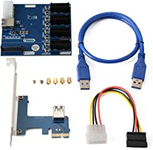 PCI-E Express 1X 1 to 4 Port Switch Multiplier Expansion Hub Riser Card + 4 Pin SATA Power Connector + USB 3.0 Cable