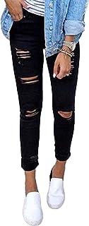 CORAFRITZ Pantalones vaqueros ajustados de talle alto con agujero rasgado para mujer, pantalones vaqueros lavados delgados...