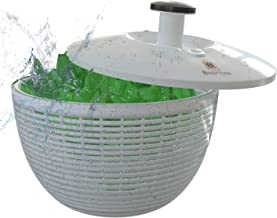 Brieftons QuickDry Salad Spinner: Large 6.2 Quart Lettuce Greens Washer Dryer Drainer Crisper Strainer, Easy One-Handed Pump Operation, Compact Storage, Perfect for Washing & Drying Leafy Vegetables
