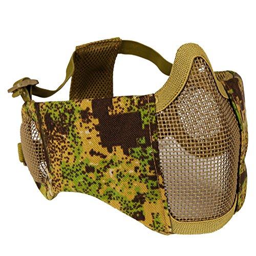 Aoutacc, faltbare Airsoft-Maske, Halbgesicht-Masken mit Ohrschutz für Kriegsspiele, Jagd, Paintball, PG