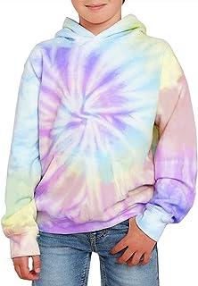 GAMISOTE Unisex Kids Tie Dye Sweatshirt Boys Girls Warm Hooded Kangaroo Pocket Pullover Hoodies