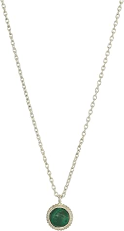 Coin Edge Station Necklace with Opal