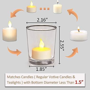 DARJEN Votive Candle Holders Set of 12 - Glass Votives Holder - Clear Tealight Candle Holder Bulk for Table Centerpieces &amp