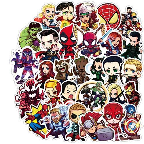ZWANG Avengers Stickers Marvel Suitcase Stickers Superman Iron Man Pegatinas para portátil de Coche eléctrico 100 Hojas