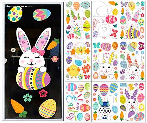 Exporee Fensteraufkleber Ostern, Set mit 9 Blättern PVC Doppelseiten Fenster Abziehbilder Wiederverwendbar Hase Eier Fensterbilder für Glas Fenster Osterdekorationen