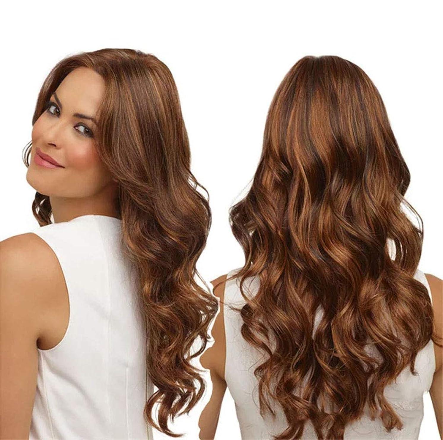 主張する音楽を聴く馬鹿女性かつら150%密度耐熱合成繊維人毛水波かつらベビー髪かつら65センチ