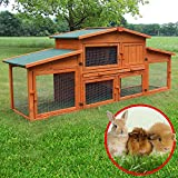 Zooprimus ❤ Cage Clapier Enclos lapin ❤ Extérieur en bois de pin haute qualité pour lapins 218 x 50,5 x 91 cm Modèle 043 étable du roi