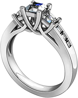 Sterling Silver Engagement Ring Promise Rings for Women 1 CT Square Cubic Zirconia 4 Prong Sz 5-11