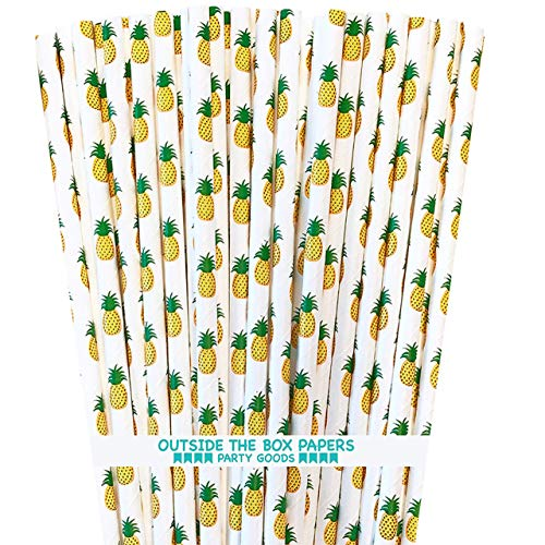 Pineapple Theme Paper Straws - Yellow Green White - 7.75 inches - 100 Pack - Outside The Box Papers Brand