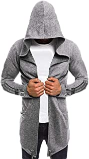 Mens Splicing Hooded Trench Coat Jacket Cardigan Long Sleeve Outwear