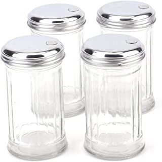 Tebery 4 Pack Stainless Steel Flip Cap Glass Sugar Dispenser/Pourer/Shaker,12 ounce