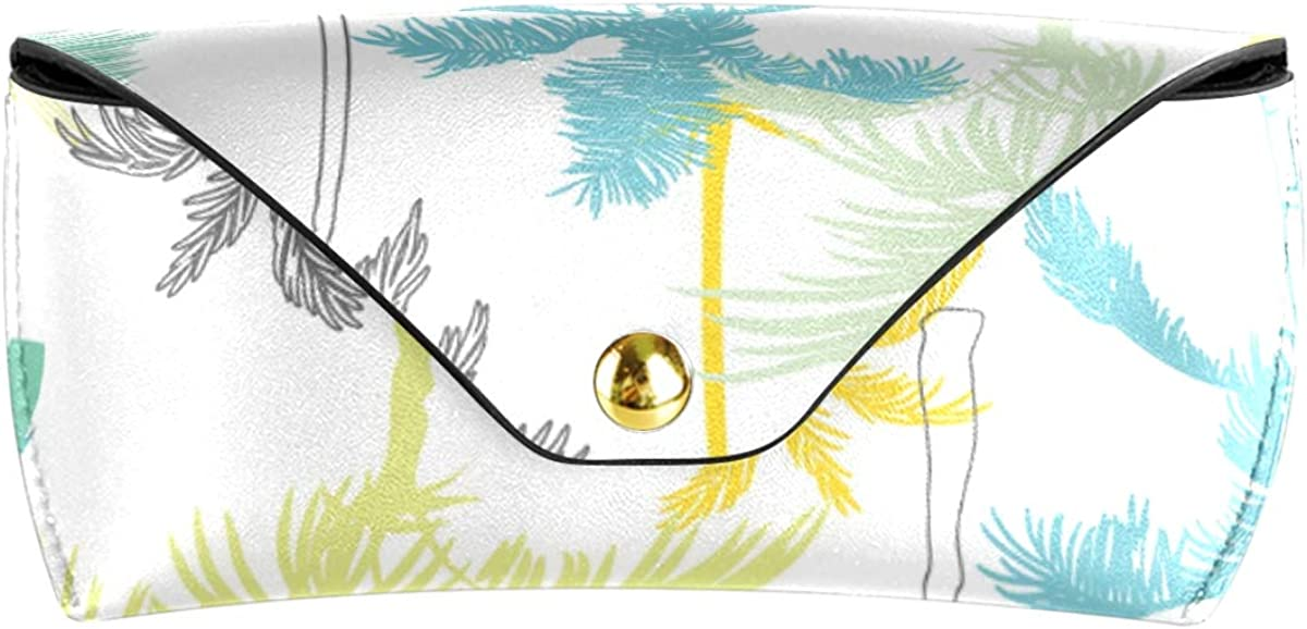 Sunglasses Case Eyeglasses Pouch gift Abstract Colorful Palm Tree Portable Goggles Bag Multiuse PU Leather