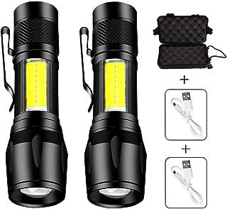 Handheld Flashlights, TechCode 2 PACK LED Zoom Flashlight Adjustable Focus Torch Ultra Bright Pocket Clip Light Mini USB R...