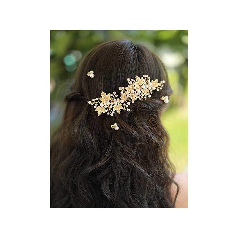 Missgrace Bridal Crystal Leaf Rose Gold Hair Pins Women Crystal Headpiece Wedding Rose Gold Leaf Hair Pins Clip Hair Jewelry Wedding Hair Accessories Set of 5