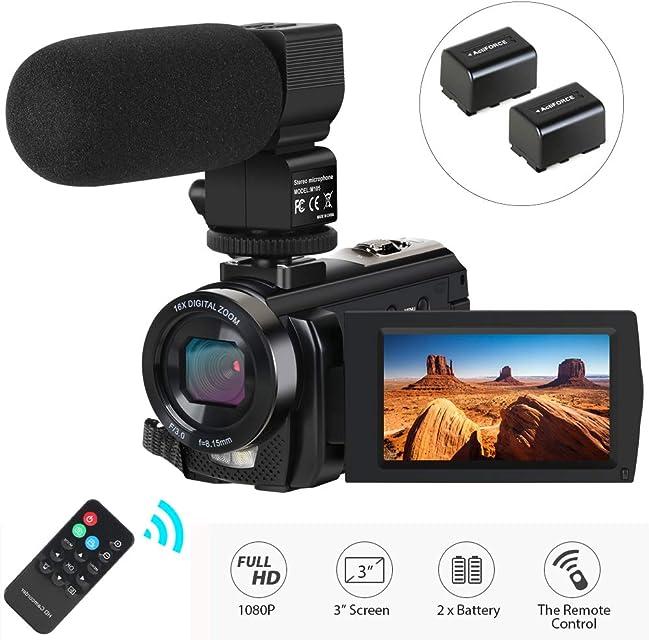 Videocámara Cámara de Video cámara Digital con micrófono HD 1080P 24MP 16X Zoom Digital 3.0 LCD de 270 Grados Pantalla giratoria Youtube Grabadora de cámara Vlogging con Control Remoto 2 baterías