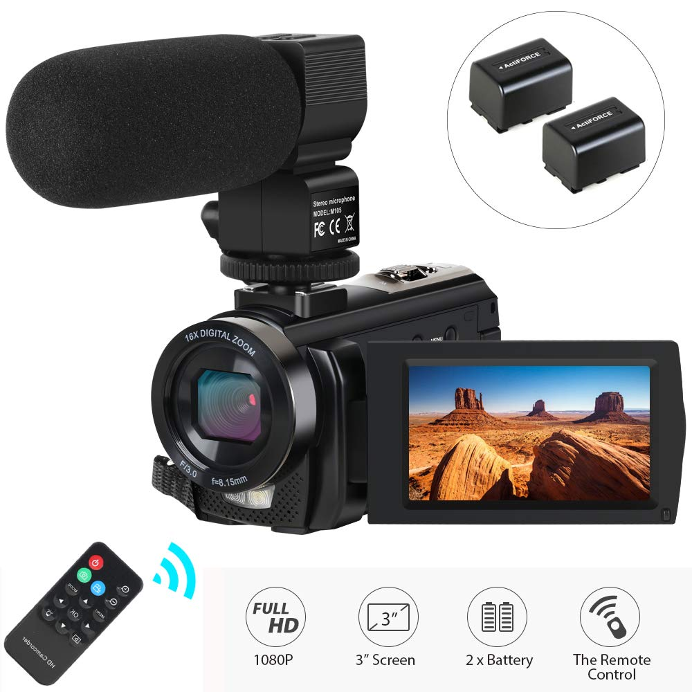 Camcorder Actinow Microphone Rotatable Batteries