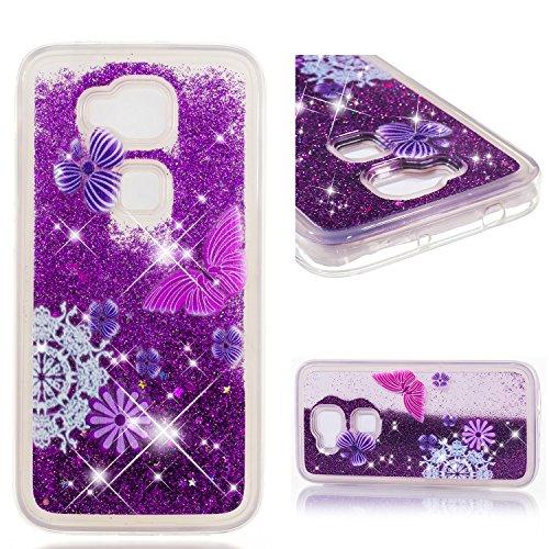 MSOSA Funda Huawei G8/G7 Plus Silicona Purpurina Carcasa TPU Cristal Bumper Fundas Case Cover para Huawei G8/G7 Plus_Mariposa