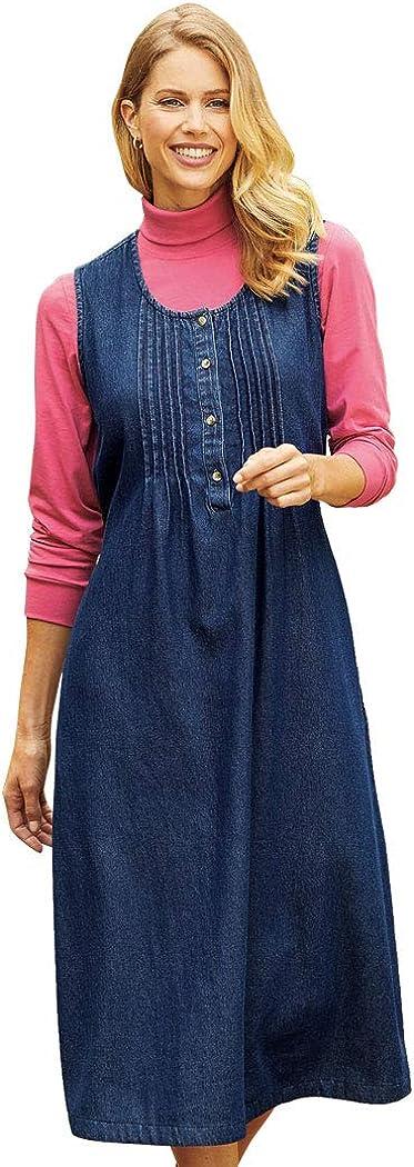 AmeriMark Women's Cotton Denim Pin-Tuck Jumper Dress - Casual Knee Length Dress