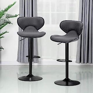 ALPHA HOME Bar Stools Counter Height Adjustable Swivel Bar Chair Modern Pu Leather Kitchen Counter Stools Bar Height Bar S...