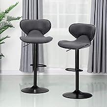 ALPHA HOME Bar Stools Counter Height Adjustable Swivel Bar Chair Modern Pu Leather..